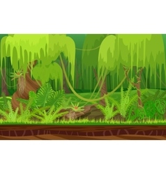 Cartoon color nature tropical rain jungle forest vector image