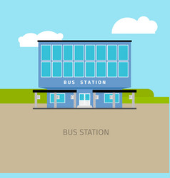 colored bus station building vector image