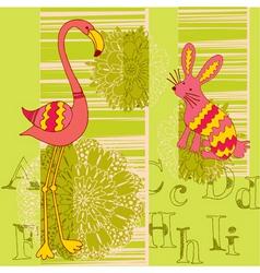 flamingo and rabbit vector image vector image