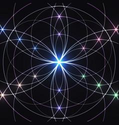 sacred geometry glowing geometrical ornament vector image