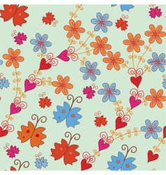 seamless pattern with orange flowers vector image