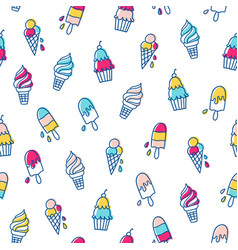 various ice cream pattern vector image vector image