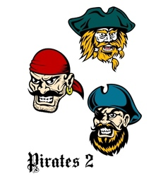 Cartoon brutal pirate captains set vector image vector image