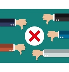 cartoon Businessmans hands hold thumbs down vector image vector image