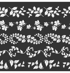 Curly branches horizontal borders vector