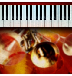 abstract grunge red background with trumpets and vector image