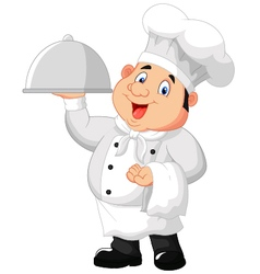 Chef holding a metal food platter vector image vector image
