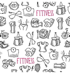 Fitness sketch black and white seamless pattern vector image vector image