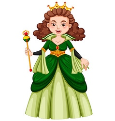 Queen in green gown vector image vector image