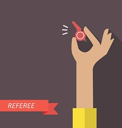 Referee hand holding a whistle vector image vector image