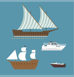 ship boat sea symbol vessel travel industry vector image