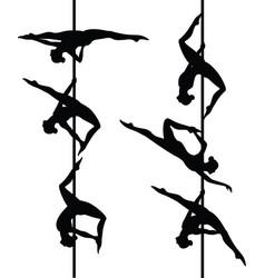 six pole dancers vector image