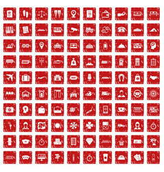 100 paying money icons set grunge red vector image