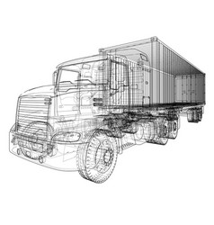 American truck outlined rendering of 3d vector