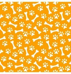 animal seamless pattern paw footprint and bone vector image