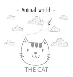 animal world the cat cloud background image vector image