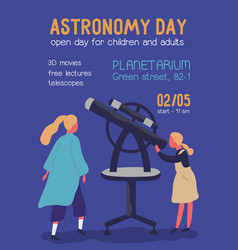 Astronomy day colorful promo poster with place vector