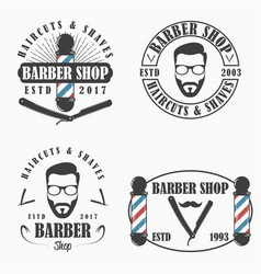 barber shop logo set vector image