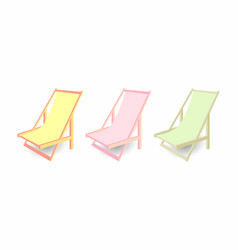 Beach chair set of chaise longues of different vector