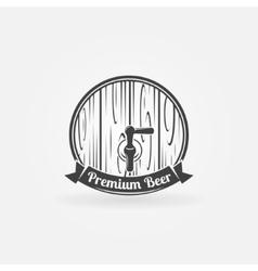 Beer wooden barrel logo vector image
