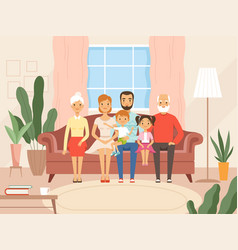 big family mother father kids and grandparents vector image