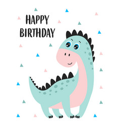 birthday card with badinosaur vector image