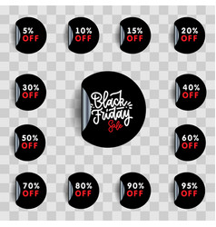 Black friday sale and discount pointer or sticker vector
