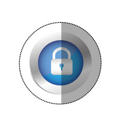 Blue symbol lock icon vector