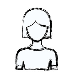 blurred silhouette faceless half body woman with vector image