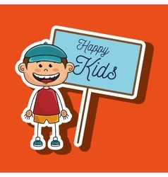 Boy kids happy poster vector