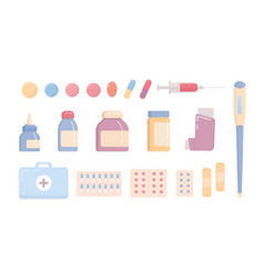 Bundle of medical tools and medicines isolated on vector