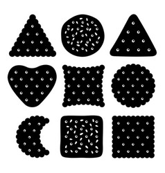 buscuits and cookies set black white vector image
