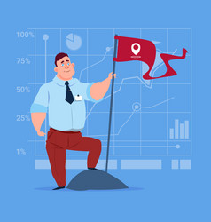 Business man hold flag successful achievement vector