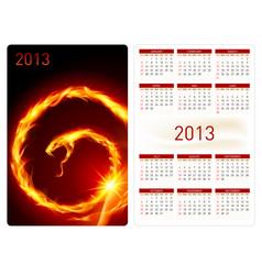 calendar twenty thirteen fire snake for design vector image