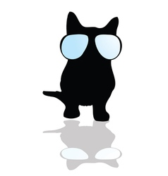 cat with glasses silhouette vector image