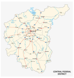 Central federal district road map vector