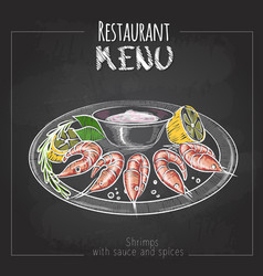 Chalk drawing menu design seafood shrimps vector