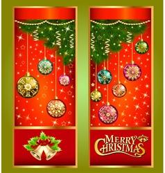 Christmas greeting card with Christmas tree branch vector