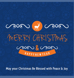 christmas greetings card design with blue vector image