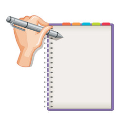 close up hand writing on blank notebook isolated vector image