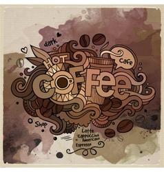 Coffee watercolor cartoon hand lettering vector