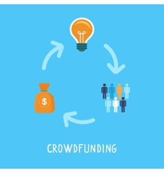 Crowdfunding concept in flat style vector