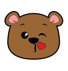Cute bear kawaii character vector