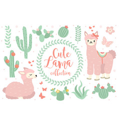 Cute lama set objects collection design elements vector