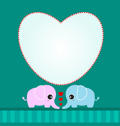Cute lover elephant with hearts vector