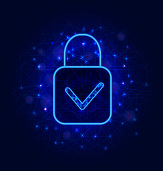 cyber security concept padlock with check mark on vector image