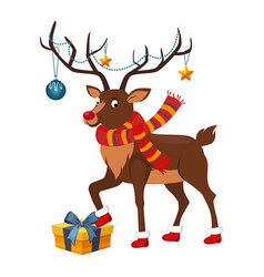 Deer with a christmas garland vector