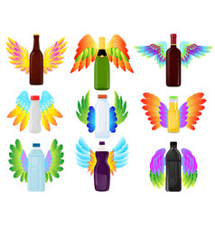 different bottles with wings icons vector image