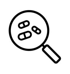 drugstore and medicine search linear icon vector image