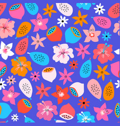 exotic fruit and flower summer seamless vector image